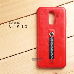 เคส Samsung Galaxy A6 Plus (2018) เคส Hybrid 2 ชั้น พิมพ์ลายหนัง สีแดง (พร้อมสายคล้องนิ้ว)