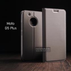 เคส Moto G5 Plus เคสฝาพับเกรดพรีเมี่ยม (เย็บขอบ) พับเป็นขาตั้งได้ สีเทา (Dux Ducis)