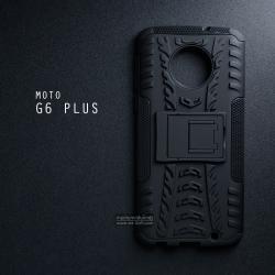 เคส MOTO G6 Plus เคสบั๊มเปอร์ กันกระแทก Defender (พร้อมขาตั้ง) สีดำ