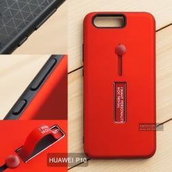 เคส Huawei P10 เคส Hybrid เกรดพรีเมี่ยม 2 ชั้น ขอบยางลดแรงกระแทก พร้อม (ขาตั้ง + สายคล้องนิ้ว) สีแดง