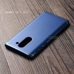 เคส Huawei GR5 2017 เคสแข็งสีเรียบ คลุมขอบ 4 ด้าน สีน้ำเงิน (แถบสีเงิน บน-ล่าง)