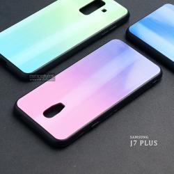เคส Samsung Galaxy J7 Plus เคสขอบนิ่มสีดำ + ฝาหลังอะคริลิค (สีชมพู - ม่วง - ผิวเงา สะท้อนแสงเป็นรุ้ง) แบบที่ 2