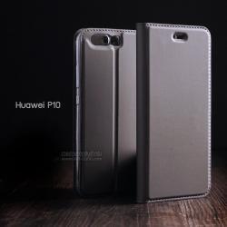 เคส Huawei P10 เคสฝาพับเกรดพรีเมี่ยม เย็บขอบ พับเป็นขาตั้งได้ สีสเปซเกรย์ (Dux ducis)