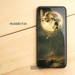 เคส Huawei P20 เคสขอบยางดำ + กระจกกันรอยครอบทับหลังเคส เกรดพรีเมี่ยม พิมพ์ลาย แบบที่ 1