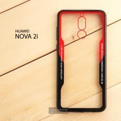 เคส Huawei Nova 2i เคสขอบนิ่ม ฝาหลังอะคริลิคใส ขอบยางกันกระแทก (สีแดง - ดำ)