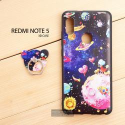 เคส Redmi Note 5 เคสนิ่ม TPU (ขอบดำ) พิมพ์ลายนูน 3D สามมิติ + พร้อมแหวนมือถือ แบบที่ 1
