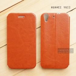 เคส Huawei Y6ii เคสหนังฝาพับ + แผ่นเหล็กป้องกันตัวเครื่อง (บางพิเศษ) สีน้ำตาล