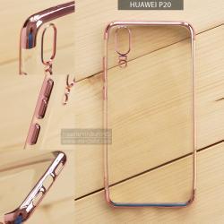เคส Huawei P20 เคสนิ่ม SLIM TPU สีใส ขอบเงา ( สีโรสโกลด์ )