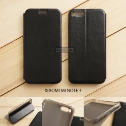 เคส Xiaomi Mi Note 3 เคสฝาพับบางพิเศษ พร้อมแผ่นเหล็กป้องกันของมีคม พับเป็นขาตั้งได้ สีดำ