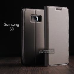 เคส Samsung Galaxy S8 เคสฝาพับเกรดพรีเมี่ยม (เย็บขอบ) พับเป็นขาตั้งได้ สีเทา