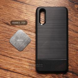 เคส Huawei P20 เคสนิ่ม เกรดพรีเมี่ยม ( ลายโลหะขัด + เคฟล่า ) พร้อมแม่เหล็กยึดบนรถยนต์
