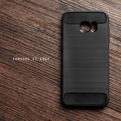 เคส Samsung Galaxy S7 Edge เคสนิ่มเกรดพรีเมี่ยม (Texture ลายโลหะขัด) กันลื่น ลดรอยนิ้วมือ สีดำ