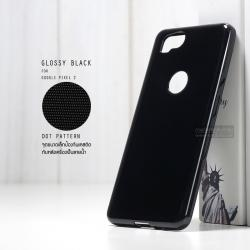 เคส Google Pixel 2 เคสนิ่มผิวเงา GLOSSY BLACK พร้อมจุดขนาดเล็กป้องกันเคสติดกับตัวเครื่อง สีดำทึบ