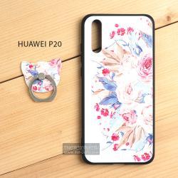 เคส Huawei P20 เคสนิ่ม TPU พิมพ์ลายนูน (ขอบดำ) + พร้อมแหวนมือถือ แบบที่ 1