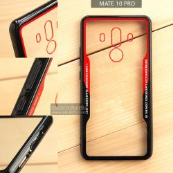 เคส Huawei Mate 10 Pro เคสขอบนิ่ม ฝาหลังอะคริลิคใส ขอบยางกันกระแทก (สีดำ - แดง)