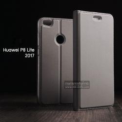 เคส Huawei P8 Lite 2017 เคสฝาพับเกรดพรีเมี่ยม (เย็บขอบ) พับเป็นขาตั้งได้ สีเทา