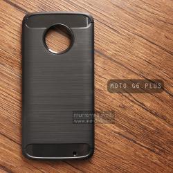 เคส MOTO G6 PLUS เคสนิ่มเกรดพรีเมี่ยม (Texture ลายโลหะขัด) กันลื่น ลดรอยนิ้วมือ สีดำ