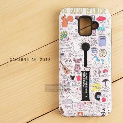 เคส Samsung Galaxy A6 (2018) เคส Hybrid เกรดพรีเมี่ยม 2 ชั้น ขอบยางลดแรงกระแทก พร้อม (ขาตั้ง + สายคล้องนิ้ว) พิมพ์ลายนูน แบบที่ 2