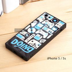 เคส iPhone 5 / 5s เคสขอบยางดำ + กระจกกันรอยครอบทับหลังเคส เกรดพรีเมี่ยม พิมพ์ลาย แบบที่ 4