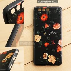 เคส Huawei P10 Plus เคสอะครีลิค ขอบยางสีดำ พิมพ์ลายนูน (Flower) สีดำ