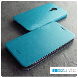 เคส Meizu MX5 เคสหนัง + แผ่นเหล็กป้องกันตัวเครื่อง (บางพิเศษ) สีฟ้าอมเขียว