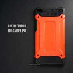 เคส Huawei P8 เคสบั๊มเปอร์ (เสริมขอบกันกระแทก) สีส้มอมแดง Hybrid Protection