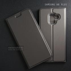 เคส Samsung Galaxy A8+ (Plus) 2018 เคสฝาพับเกรดพรีเมี่ยม (เย็บขอบ) พับเป็นขาตั้งได้ สีเทา (Dux Ducis)