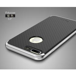 เคสสำหรับ iPhone 7 Plus เคส iPaky Hybrid Bumper เคสนิ่มพร้อมขอบบั๊มเปอร์ สีดำขอบเงิน