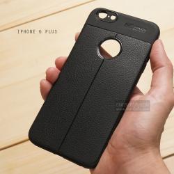 เคส iPhone 6 Plus เคสนิ่ม Hybrid เกรดพรีเมี่ยม ลายหนัง (ขอบนูนกันกล้อง) แบบที่ 2 (มีเส้นตรงกลาง)