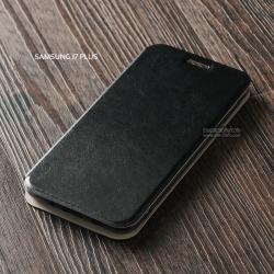 เคส Samsung Galaxy J7 Plus เคสฝาพับบางพิเศษ พร้อมแผ่นเหล็กป้องกันของมีคม พับเป็นขาตั้งได้ สีดำ