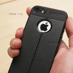 เคส iPhone 5 / SE เคสนิ่ม Hybrid เกรดพรีเมี่ยม ลายหนัง (ขอบนูนกันกล้อง) แบบที่ 2 (มีเส้นตรงกลาง)