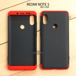 เคส Redmi Note 5 เคสแข็งแบบ 3 ส่วน ครอบคลุม 360 องศา (สีดำ - แดง)