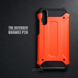 เคส Huawei P20 เคสบั๊มเปอร์ (เสริมขอบกันกระแทก) สีส้มอมแดง Hybrid Protection