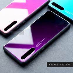 เคส Huawei P20 Pro เคสขอบนิ่มสีดำ + กระจกกันรอยครอบทับหลังเคส (สีม่วง - ดำ - ผิวเงา)