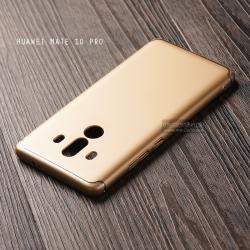 เคส Huawei Mate 10 Pro เคสแข็งสีเรียบ คลุมขอบ 4 ด้าน สีทอง (แถบสีเงิน บน-ล่าง)