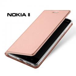 เคส Nokia 8 เคสฝาพับเกรดพรีเมี่ยม เย็บขอบ พับเป็นขาตั้งได้ สีโรสโกลด์ (Dux Ducis)