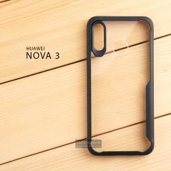 เคส Huawei Nova 3 เคสฝาหลังอะคริลิคใส ขอบยางกันกระแทก แบบที่ 2 (ขอบนูนรอบกล้อง) สีดำ
