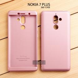 เคส Nokia 7 Plus เคสแข็งแบบ 3 ส่วน ครอบคลุม 360 องศา (สีโรสโกลด์ - โรสโกลด์)