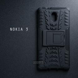 เคส Nokia 3 เคสบั๊มเปอร์ กันกระแทก Defender (พร้อมขาตั้ง) สีดำ