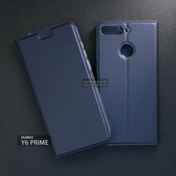 เคส Huawei Y6 Prime เคสฝาพับเกรดพรีเมี่ยม เย็บขอบ พับเป็นขาตั้งได้ สีกรมท่า