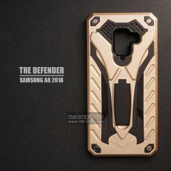 เคส Samsung Galaxy A8 2018 เคสบั๊มเปอร์ กันกระแทก Defender 2 ชั้น (พร้อมขาตั้ง) สีทอง (แบบที่ 2)