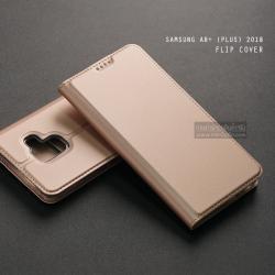 เคส Samsung Galaxy A8+ (Plus) 2018 เคสฝาพับเกรดพรีเมี่ยม (เย็บขอบ) พับเป็นขาตั้งได้ สีโรสโกลด์ (Dux Ducis)