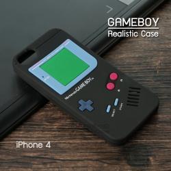 เคส iPhone 4 / 4S เคส Silicone TPU 3D สามมิติ (Realistic) ลาย Gameboy สีดำ