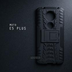 เคส MOTO E5 PLUS เคสบั๊มเปอร์ กันกระแทก Defender (พร้อมขาตั้ง) สีดำ