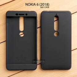 เคส Nokia 6 (2018) เคสแข็งแบบ 3 ส่วน ครอบคลุม 360 องศา (สีดำ - ดำ)