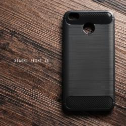 เคส Xiaomi REDMI 4X เคสนิ่มเกรดพรีเมี่ยม (Texture ลายโลหะขัด) กันลื่น ลดรอยนิ้วมือ สีดำ