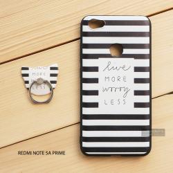เคส Redmi Note 5A Prime เคสนิ่ม TPU พิมพ์ลายนูน (ขอบดำ) + แหวนมือถือ แบบที่ 3 live more worry less