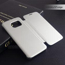 เคส Samsung Galaxy S7 Edge เคสฝาพับ ฝาหน้ากึ่งโปร่งแสง สีเงิน