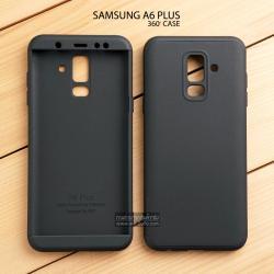 เคส Samsung Galaxy A6 Plus เคสแข็ง 3 ส่วน ครอบคลุม 360 องศา (สีดำ - ดำ)