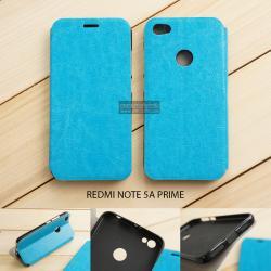 เคส Xiaomi Redmi Note 5A Prime เคสฝาพับบางพิเศษ พร้อมแผ่นเหล็กป้องกันของมีคม พับเป็นขาตั้งได้ สีฟ้า